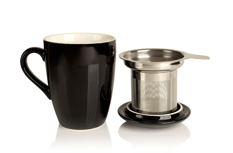 porcelain cup and infuser (black)