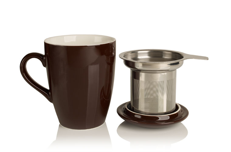 porcelain cup and infuser (chocolate)