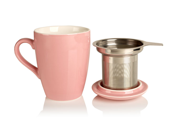 porcelain cup and infuser (pink)