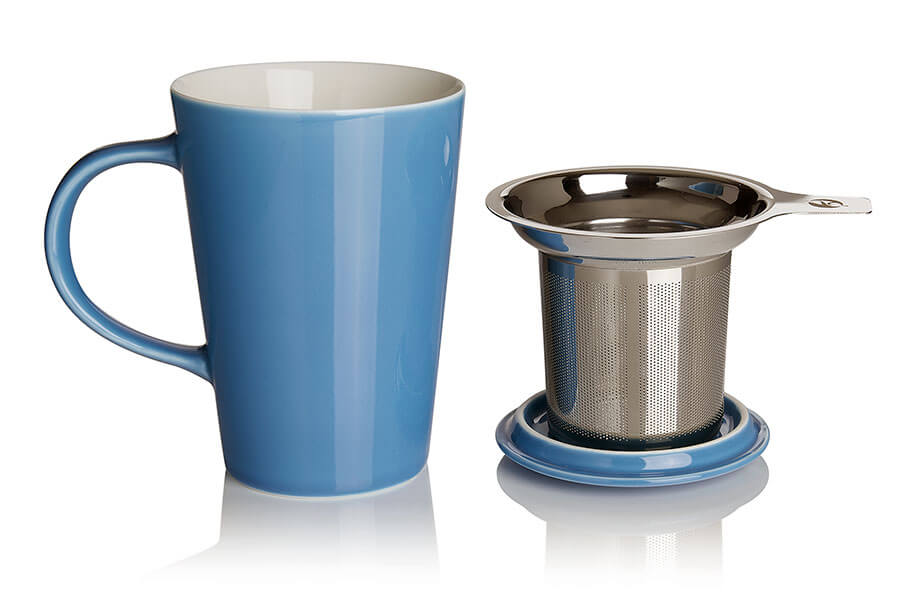 porcelain cup and infuser (sky)