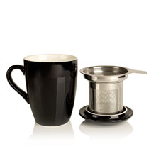 porcelain cup and infuser black