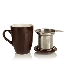 porcelain cup and infuser chocolate