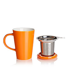 porcelain cup and infuser orange