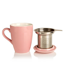 porcelain cup and infuser pink