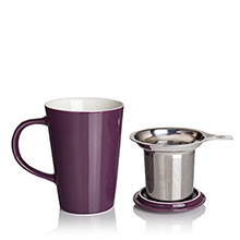 porcelain cup and infuser plum