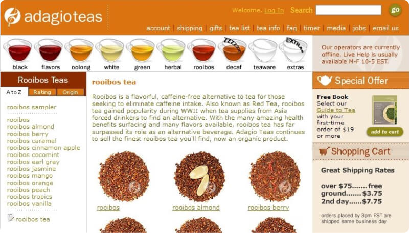 adagio teas old website